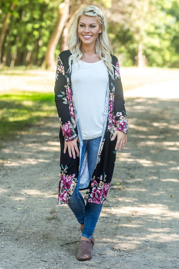 As You Were Long Floral Cardigan In Black - Filly Flair