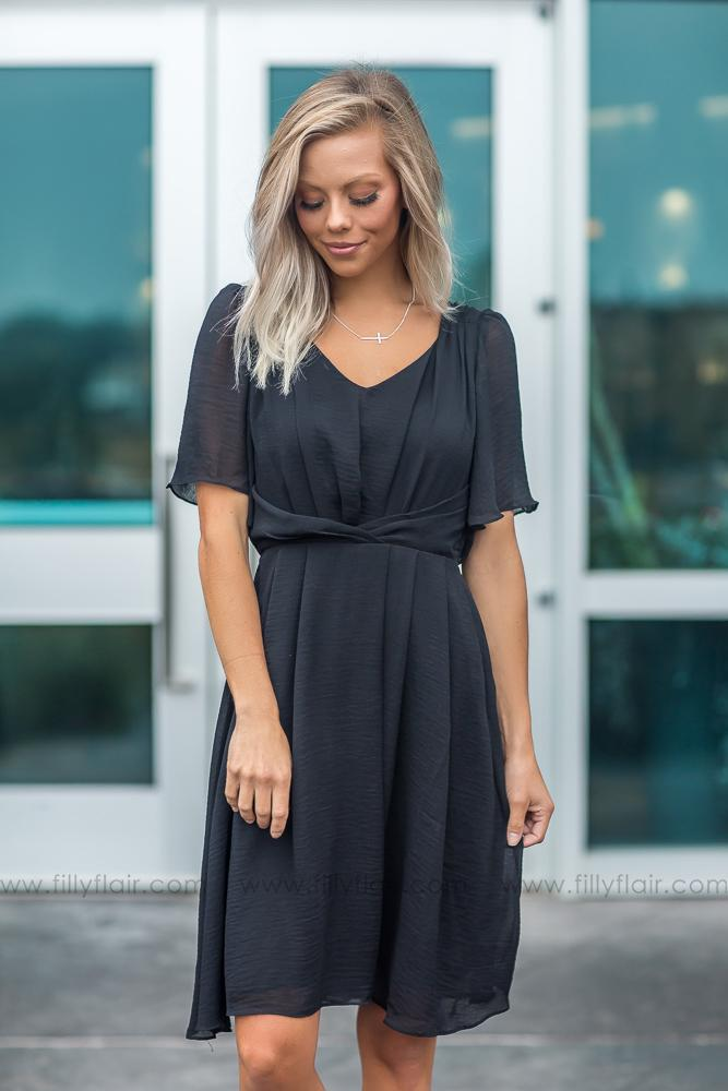 All Dressed Up Short Sleeve Dress in Black - Filly Flair