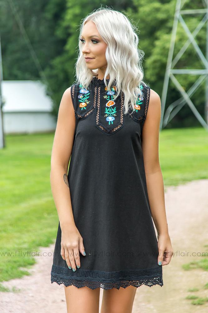 The Secret To Life Floral Embroidered Dress in Black - Filly Flair