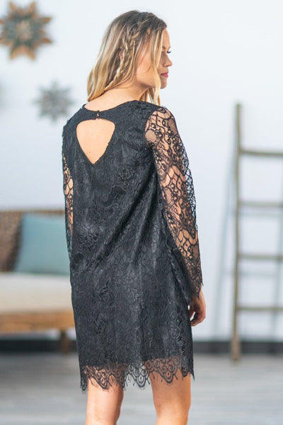 Listen To Your Heart Short Lace Dress in Black - Filly Flair