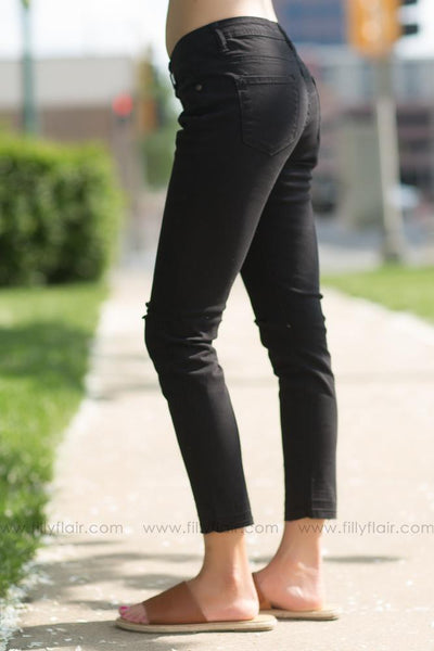 Summer Fun Black Distressed Cropped Skinny Jeans - Filly Flair