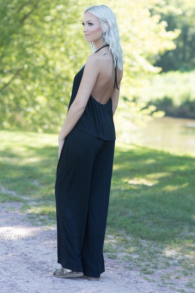 Oh Heavenly Day Halter Jumpsuit in Black - Filly Flair