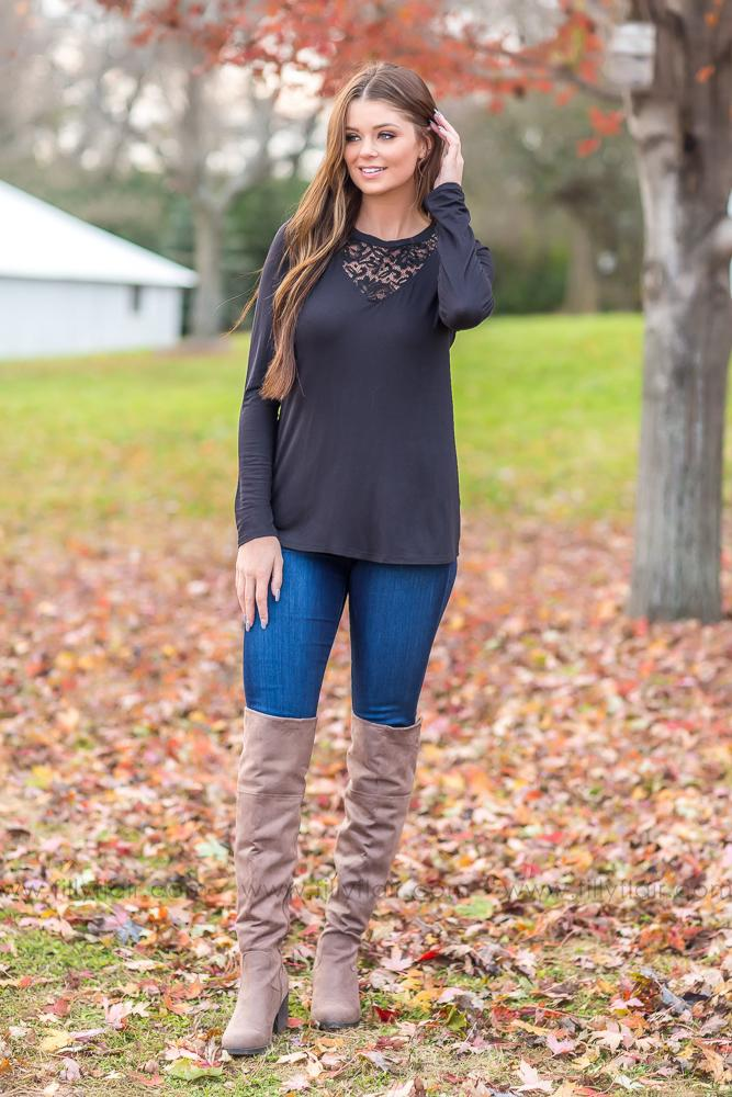 What You Wanna Say Lace Neck Top in Black - Filly Flair