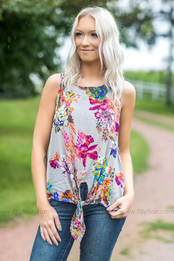 Anything But Mine Floral Tank Top in Grey - Filly Flair