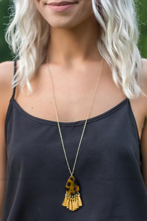 Sway With Me Teardrop and Tassel Necklace in Brown - Filly Flair