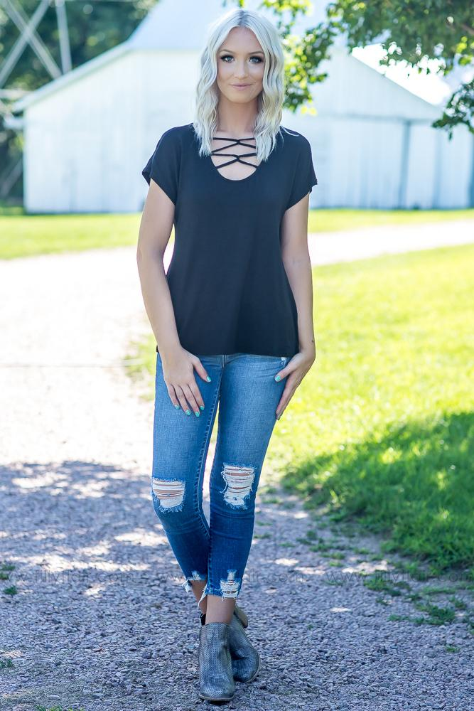 All We Ever Need Criss Cross Top in Black - Filly Flair