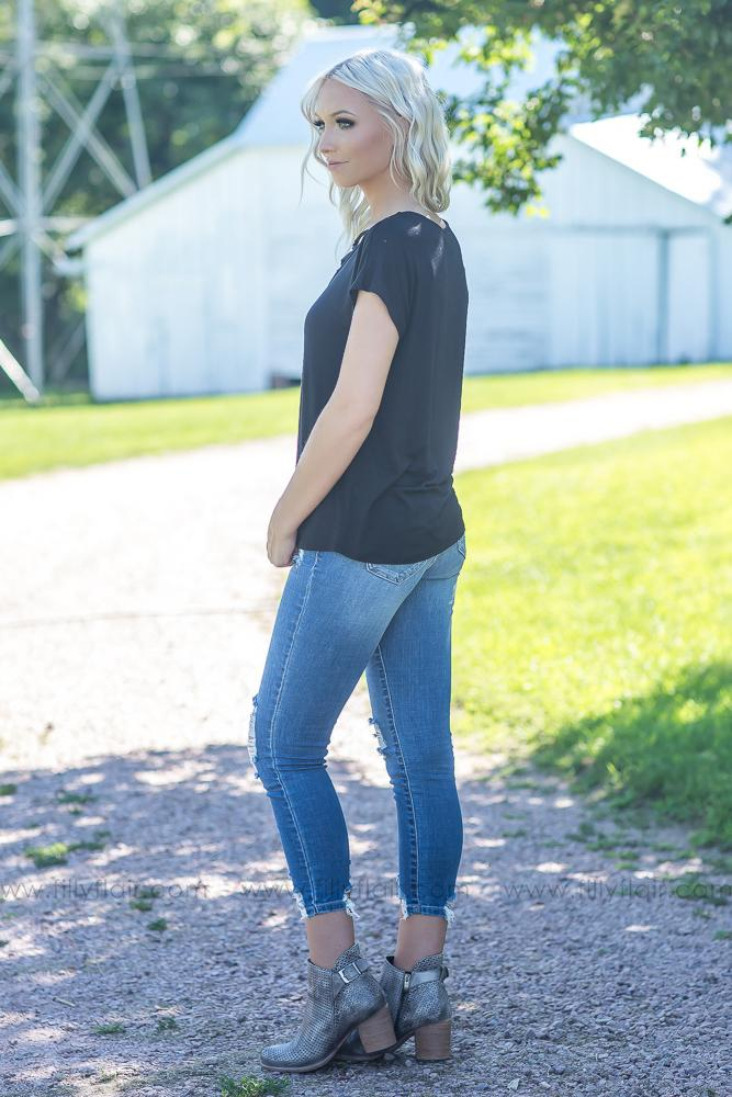 All We Ever Need Short Sleeve Criss Cross Top in Black - Filly Flair