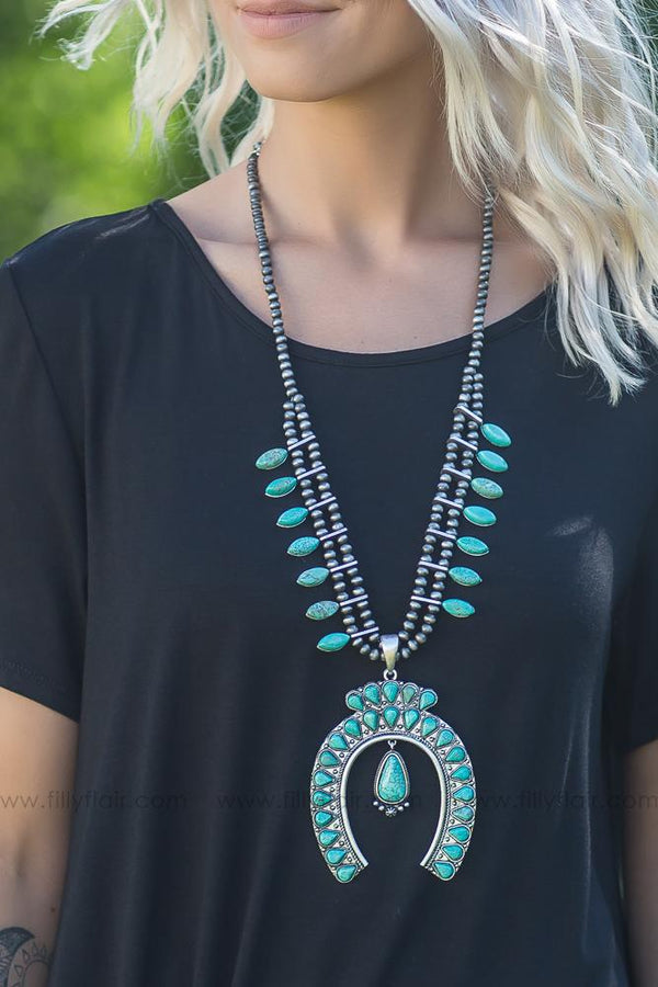 American Honey Squash Blossom Authentic Turquoise Necklace