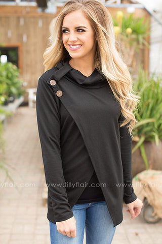 Back Home Cowl Neck Sweater in Black