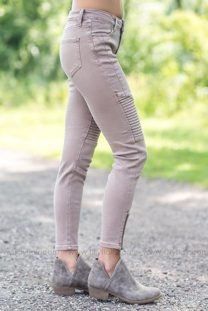 Easy Going Moto Jeggings in Coco - Filly Flair