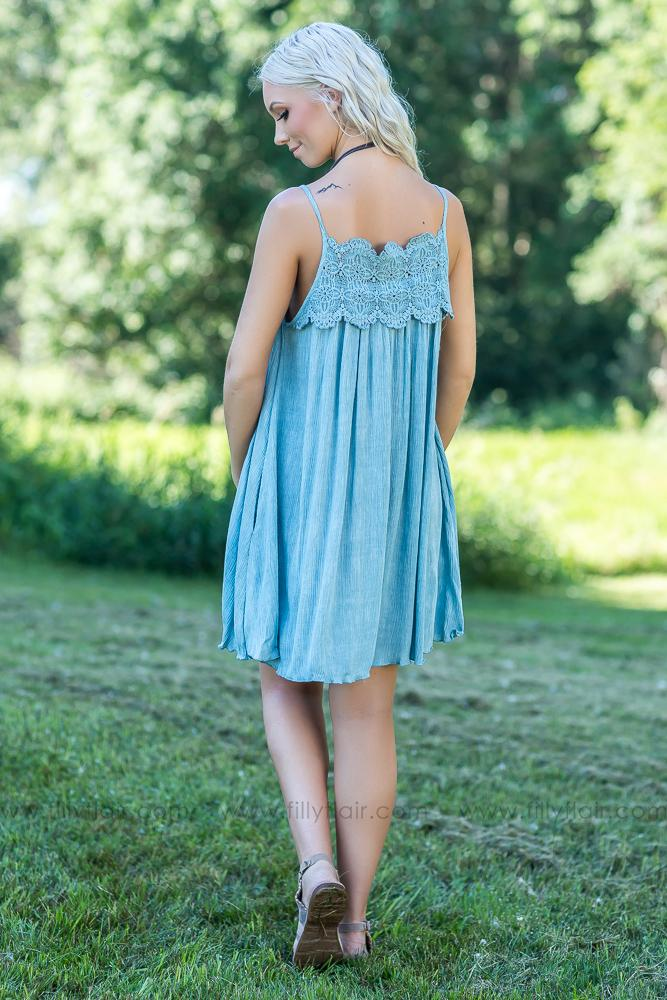 Before I Met You Crochet Lace Dress in Dusty Blue - Filly Flair