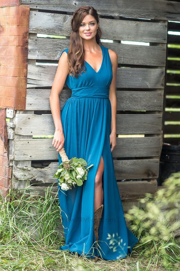 Isabella Bridesmaid Dress Deep Sea Blue - Filly Flair