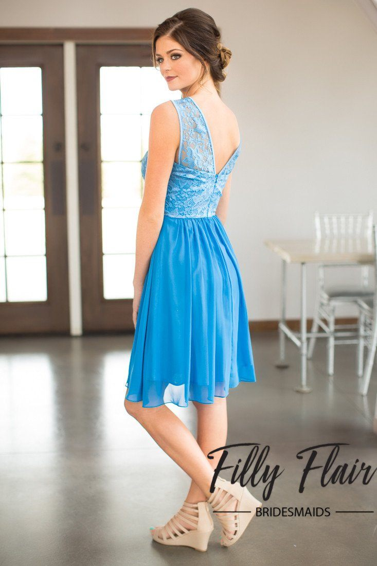 Short Blue Bridesmaid Dresses