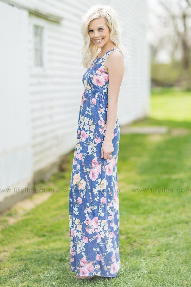 You Have My Heart Floral Maxi Dress In Heathered Periwinkle