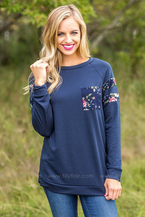 A Glimpse of Floral Long Sleeve Top in Navy