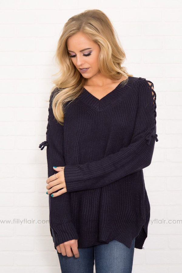 Cool Days Navy Criss Cross Detail Long Sleeve Sweater