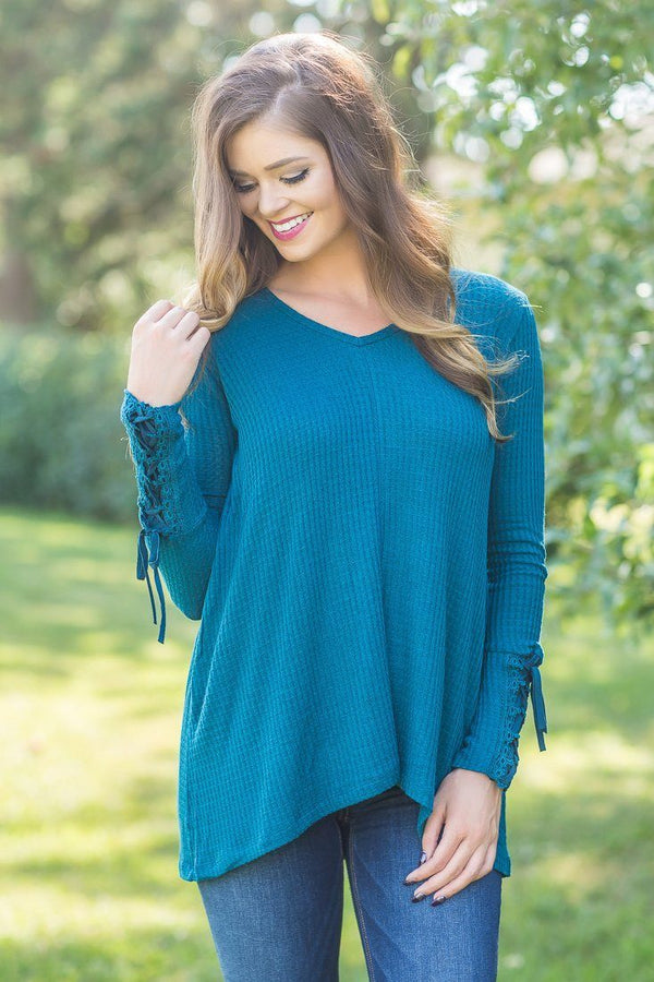 All for Love Teal V Neck lace Up Long Sleeve Top
