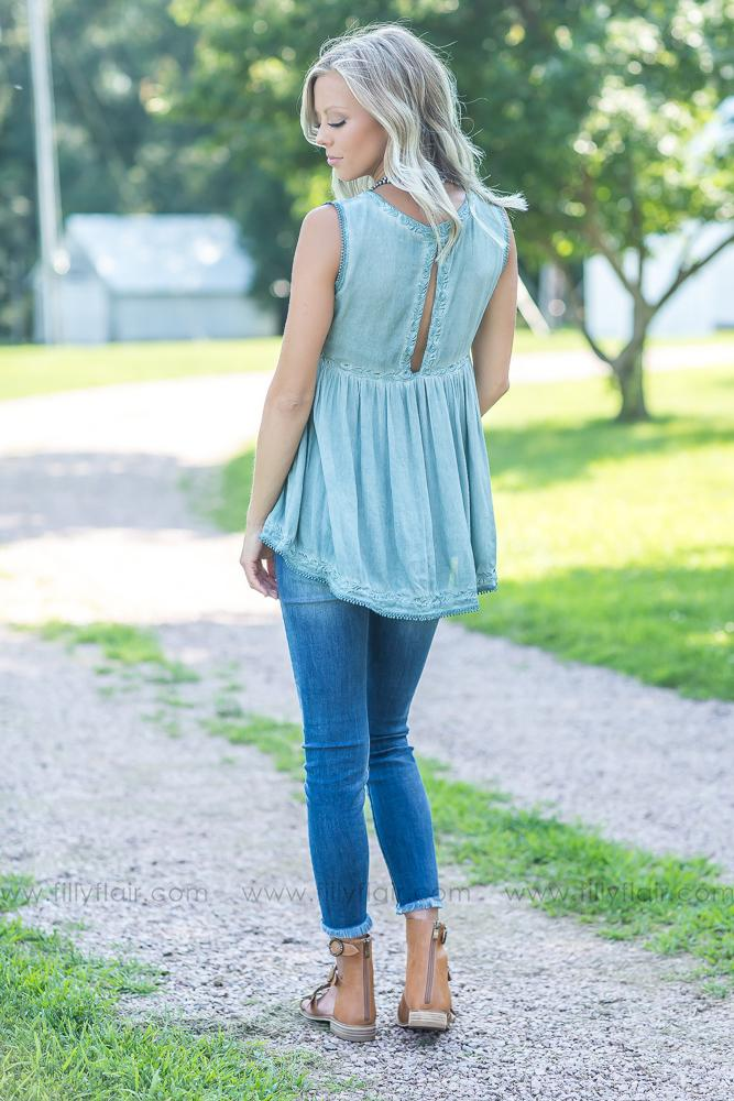 Forever Mine POL Baby Doll Top in Dusty Sage - Filly Flair