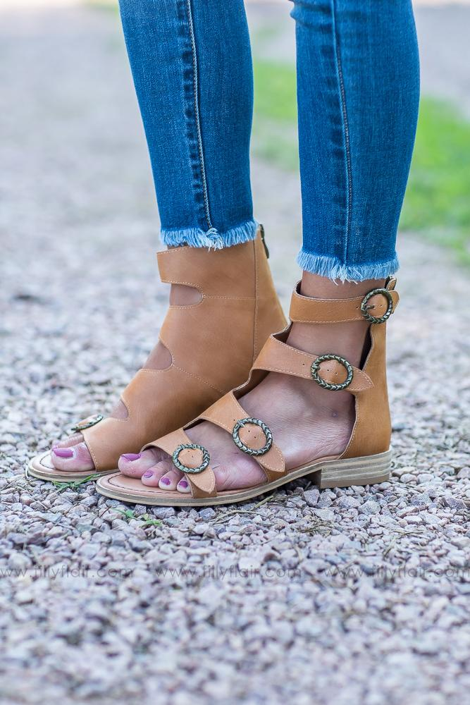You Found Me Gladiator Sandal in Camel - Filly Flair