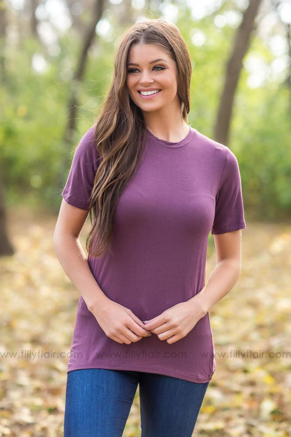 Just The Right Basic Tee in Eggplant - Filly Flair