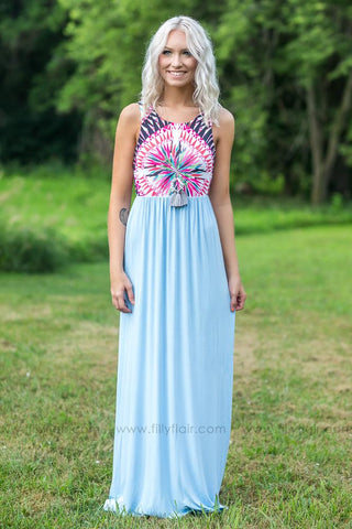 Before I Met You Crochet Lace Dress in Dusty Blue