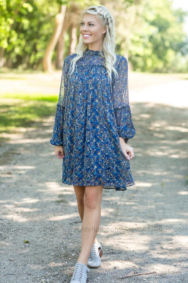 Over and Over Teal Floral Long Sleeve Dress - Filly Flair