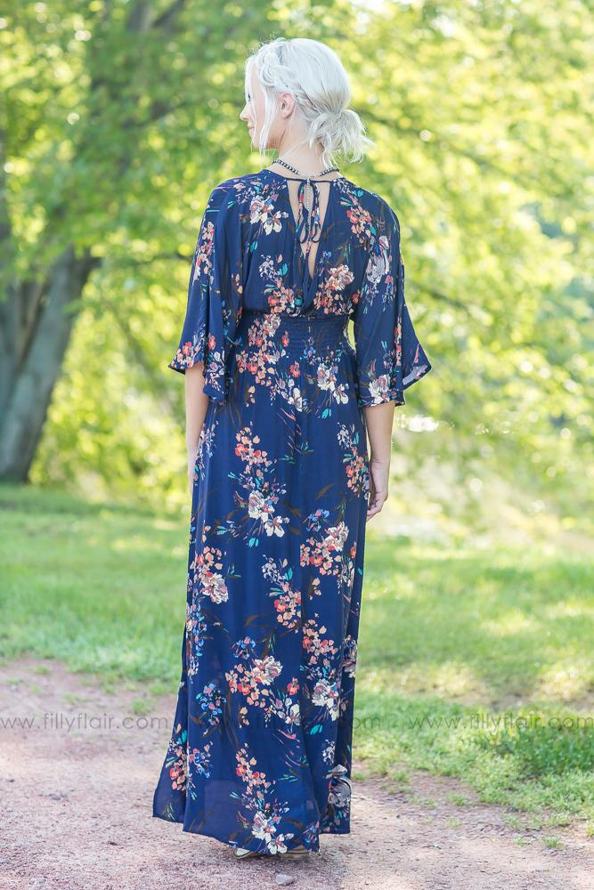 Wrapped Up in You Navy Floral Dress - Filly Flair