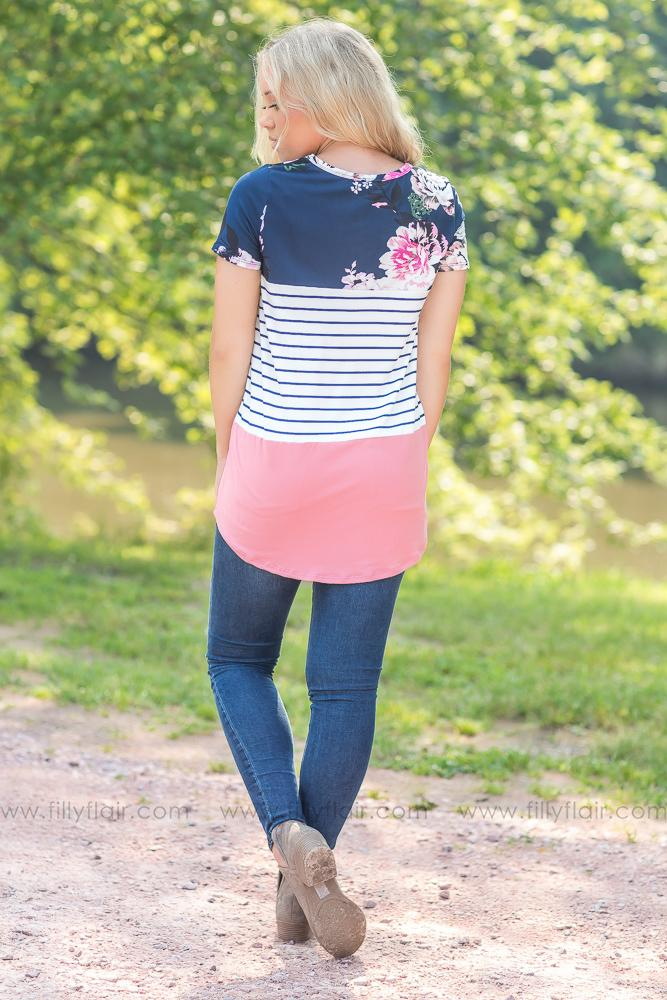 All the Feels Colorblock Tee in Navy - Filly Flair