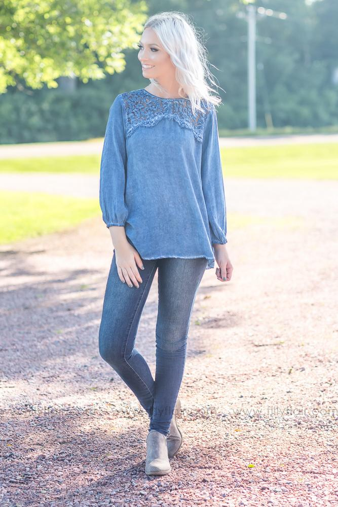 Right Here Waiting Lace Detail Long Sleeve Top in Washed Blue - Filly Flair