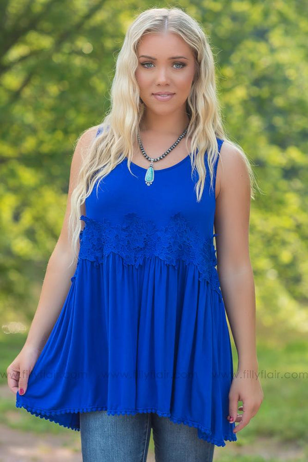 Better With Time Sleeveless Crochet Detail Top In Royal Blue - Filly Flair