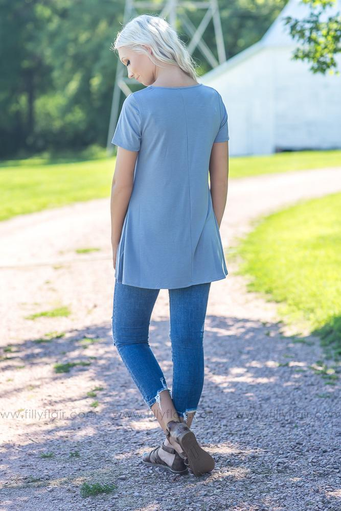 Light As A Feather Short Sleeve Criss Cross Top In Slate - Filly Flair