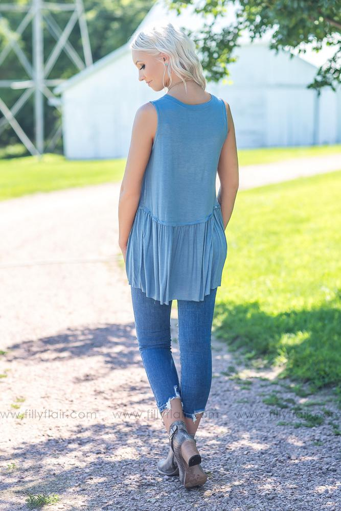 Easy Going Love Sleeveless Top in Dusty Blue - Filly Flair