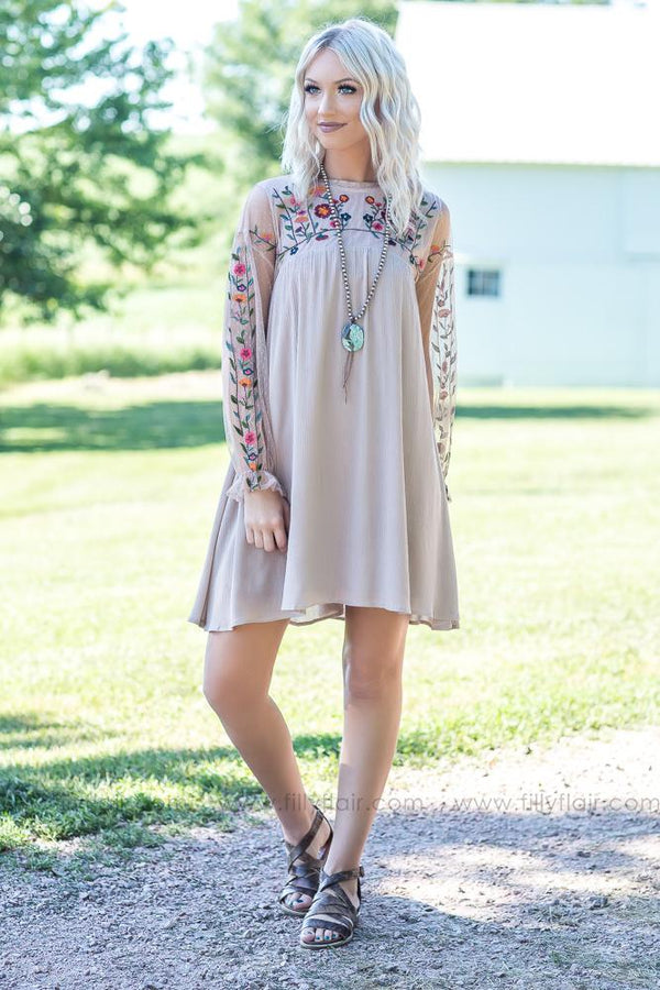 Boho Life Taupe Floral Embroidered Long Sleeve Mini Dress - Filly Flair