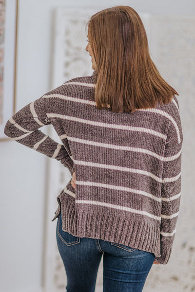 Always Choose You Striped Long Sleeve Cowl Top in Grey - Filly Flair