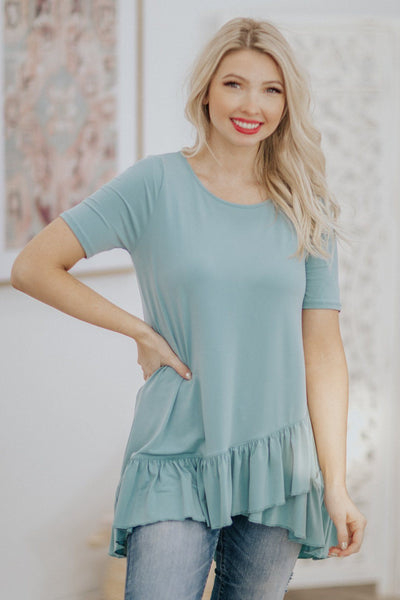 Let's Go Shopping Ruffle Hem Short Sleeve Tunic Top in Blue Grey - Filly Flair