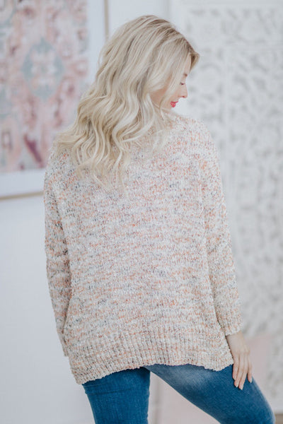 Georgia Peaches Pull Over Long Sleeve Sweater in Ivory - Filly Flair
