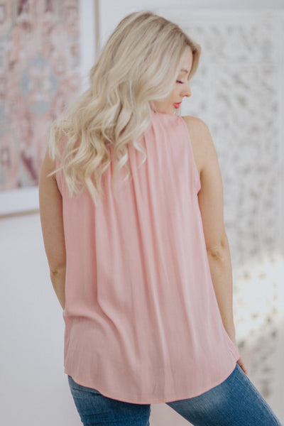 Wanna Take It There Woven High Smocked Neck Sleeveless Top in Blush - Filly Flair