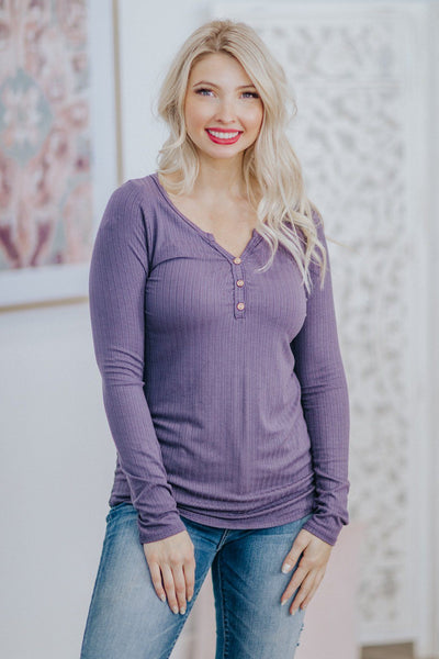 Caught In The Feeling Ribbed Button Detail Long Sleeve Top in Lilac - Filly Flair