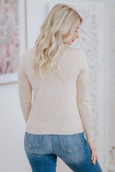 Middle Of A Memory Long Sleeve Sweater Top in Cream - Filly Flair