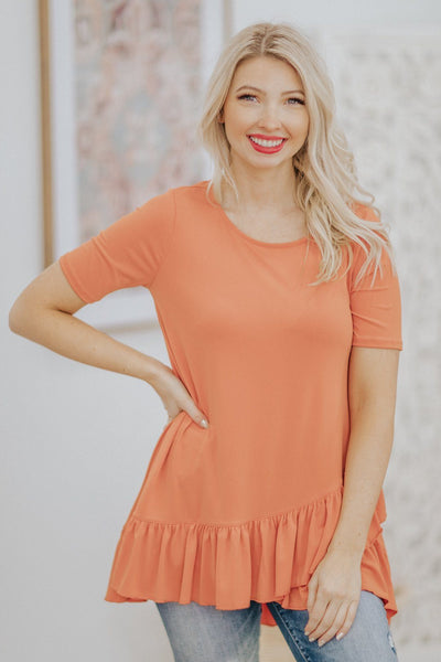 Let's Go Shopping Ruffle Hem Short Sleeve Tunic Top in Ash Copper - Filly Flair