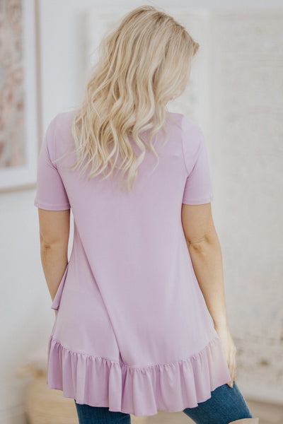 Let's Go Shopping Ruffle Hem Short Sleeve Tunic Top in Dusty Lavender - Filly Flair