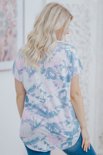 Create A Spark Tie Dye Front Twist Short Sleeve Top in Pink Blue - Filly Flair