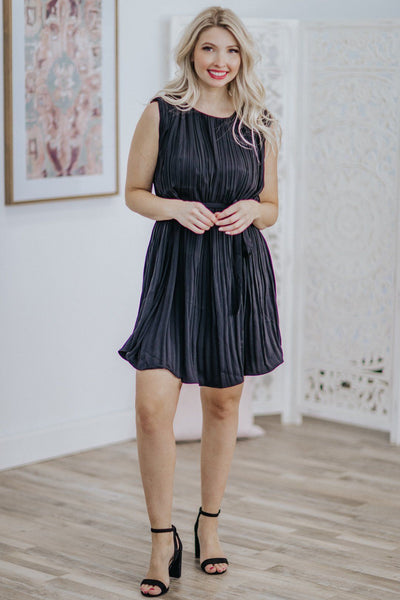 Please Stay Forever Pleated Sleeveless Tie Waist Midi Dress in Black - Filly Flair