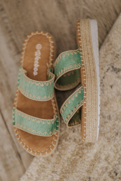 Be The Best You Stitching 2 Strap Slip On Sandal in Avocado - Filly Flair