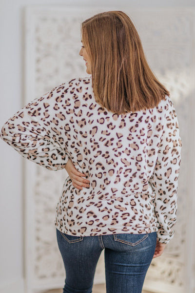 All Cozy Today Leopard Print 1/4 Zip Up Sherpa In Ivory - Filly Flair