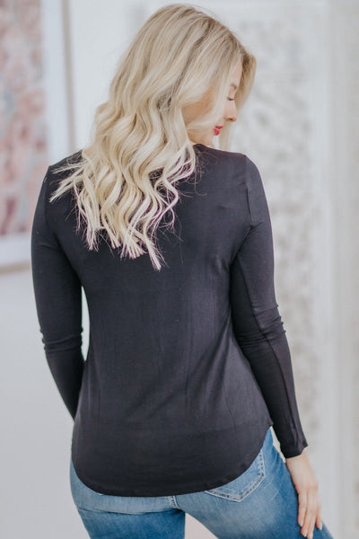*DEAL* Successful Noise Criss Cross V Neck Long Sleeve Top in Black - Filly Flair