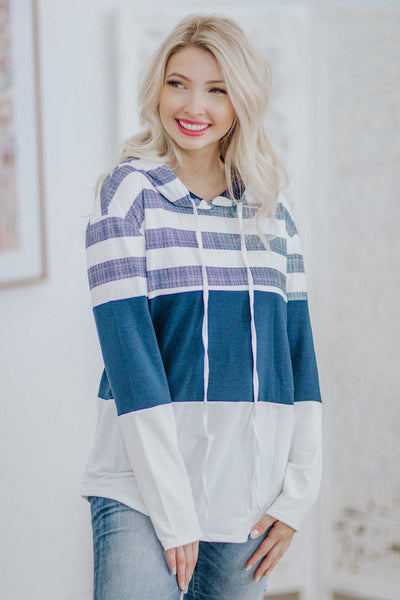OLD PRODUCT- NEW SKU ZZ6-0701-TLSP Be Positive Striped Long Sleeve Hood Top in White Navy - Filly Flair