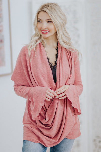 What I Really Need Wrap Neck Flare Long Sleeve Top in Mauve - Filly Flair