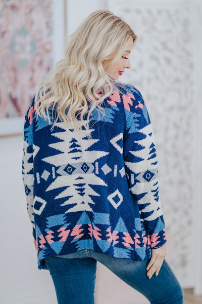 Desert Star Aztec Long Sleeve Cardigan Sweater in Blue - Filly Flair