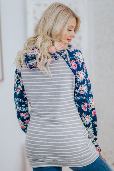 You Hold Your Own Striped Floral  Double Hoodie In Grey Navy - Filly Flair